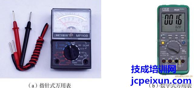 万用表是一种测量电压,电流和电阻等参数的仪表,有指针式和数字式 2