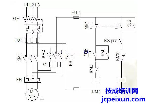 13,单向反接制动控制电路